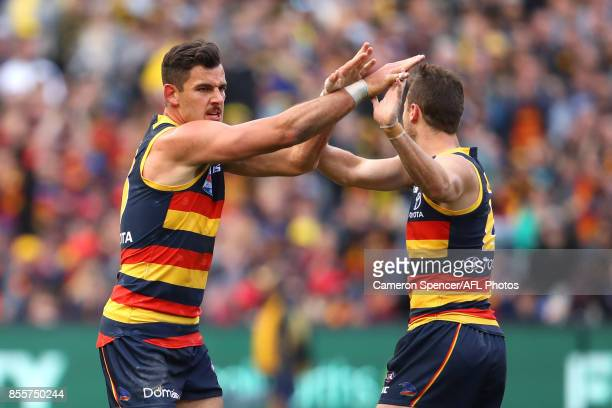 Taylor Walker of the Crows celebrates kicking a goal during the 2017 AFL Grand Final match between the Adelaide Crows and the Richmond Tigers at...