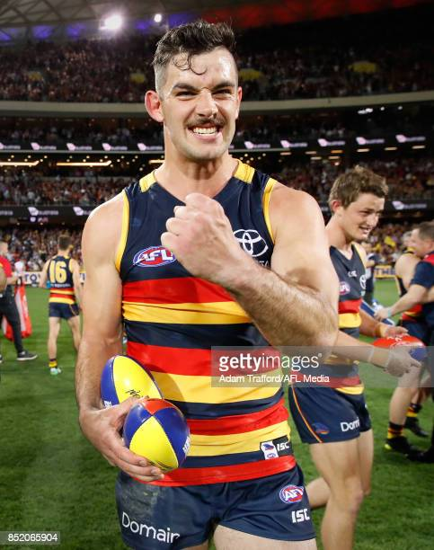 Taylor Walker of the Crows celebrates making it through the grand final during the 2017 AFL First Preliminary Final match between the Adelaide Crows...