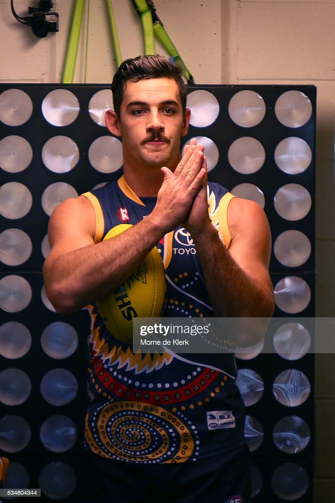 Taylor Walker of the Crows prepares to take the field before the round 10 AFL match between the Adelaide Crows and the Greater Western Sydney Giants at Adelaide Oval on May 28, 2016 in Adelaide, Australia.