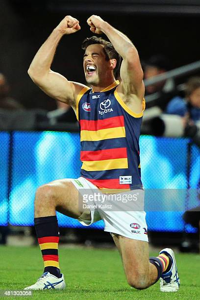 Taylor Walker of the Crows reacts after the final siren during the round 16 AFL match between the Port Adelaide Power and the Adelaide Crows at...