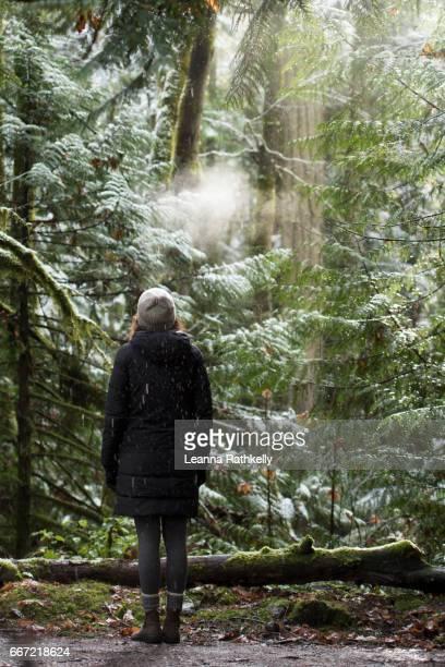 Taylor walks Gowlland Tod on a snowy day