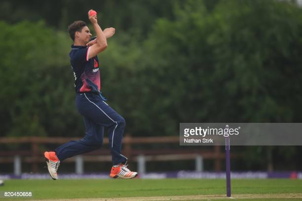 Taylor Young of England runs into bowl during the INAS Learning Disability TriSeries Trophy Final match between England and South Africa on July 21...
