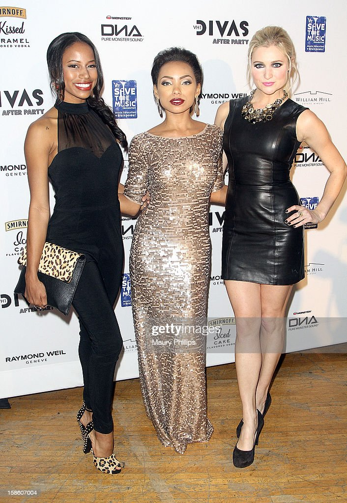 Taylour Paige, Logan Browning and Katherine Bailess attend the Official VH1 Divas after party to benefit VH1 Save The Music Foundation at The Shrine Expo Hall on December 16, 2012 in Los Angeles, California.