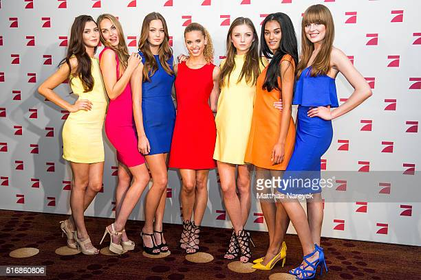 Taynara Fata Jasmin Julia Elena C Elena Kand Camilla pose during a photo call for the tv show 'Germany's Next Topmodel' on March 21 2016 in Berlin...