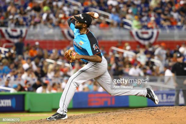 Tayron Guerrero of the World Team pitches during the SirusXM AllStar Futures Game at Marlins Park on Sunday July 9 2017 in Miami Florida