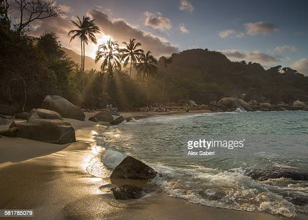 La Aranilla beach at sunset in the Tayrona national park, Colombia.