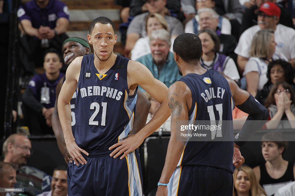Tayshaun Prince #21 and Mike Conley #11 of the Memphis Grizzlies in a game against the Sacramento Kings on April 7, 2013 at Sleep Train Arena in Sacramento, California.