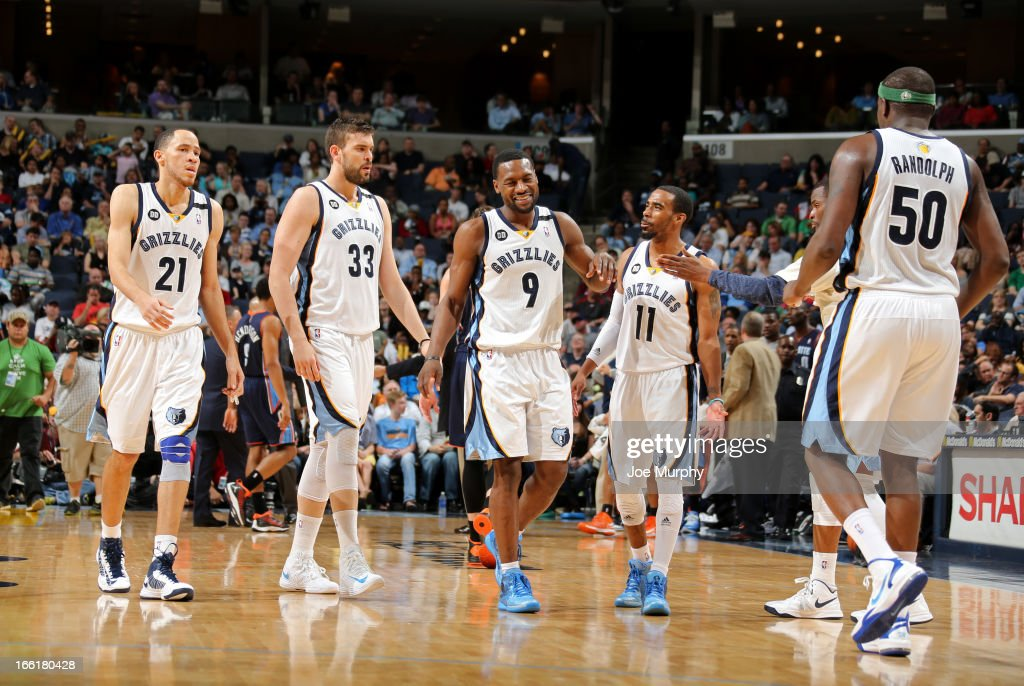 Tayshaun Prince #21, Marc Gasol #33, Tony Allen #9, Mike Conley #11, and Zach Randolph #50 of the Memphis Grizzlies celebrate during a game against the Charlotte Bobcats on April 9, 2013 at FedExForum in Memphis, Tennessee.