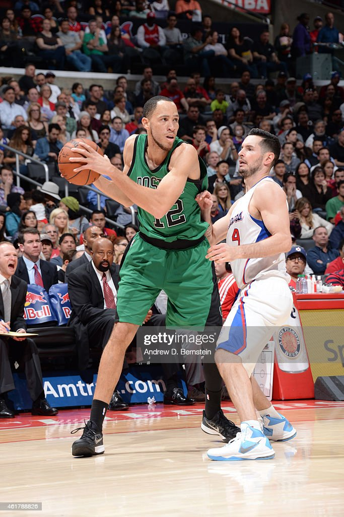 Tayshaun Prince of the Boston Celtics handles the ball against the Los Angeles Clippers during the game on January 19 2015 at STAPLES Center in Los...