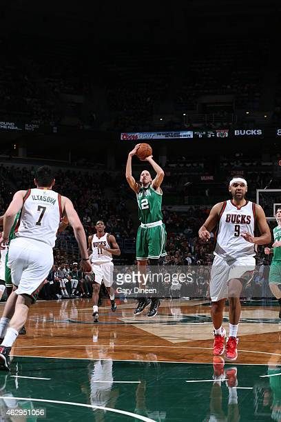 Tayshaun Prince of the Boston Celtics shoots against the Milwaukee Bucks on February 7 2015 at the BMO Harris Bradley Center in Milwaukee February...