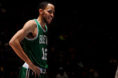 Tayshaun Prince of the Boston Celtics smiles during the game against the Denver Nuggets on January 23 2015 at the Pepsi Center in Denver Colorado...