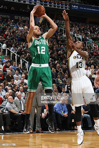 Tayshaun Prince of the Boston Celtics takes a shot against the Utah Jazz on January 26 2015 at EnergySolutions Arena in Salt Lake City Utah NOTE TO...