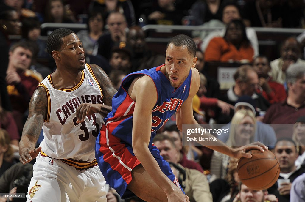 Tayshaun Prince #22 of the Detroit Pistons backs down Alonzo Gee #33 of the Cleveland Cavaliers during the game at The Quicken Loans Arena on March 25, 2011 in Cleveland, Ohio.