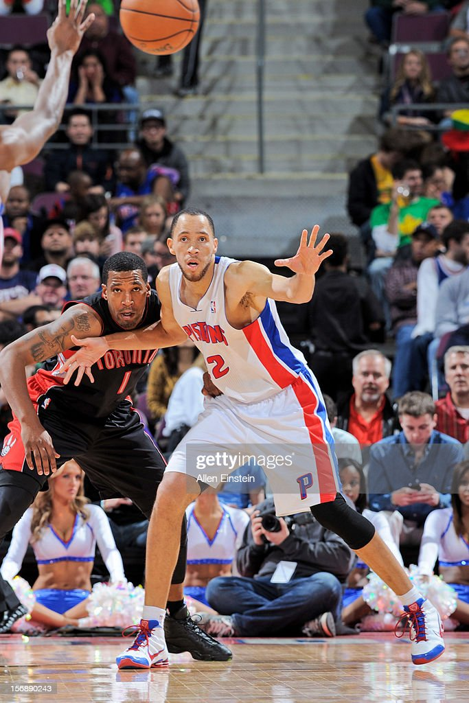 Tayshaun Prince #22 of the Detroit Pistons calls for the ball against Dominic McGuire #1 of the Toronto Raptors on November 23, 2012 at The Palace of Auburn Hills in Auburn Hills, Michigan.