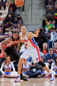 Tayshaun Prince of the Detroit Pistons calls for the ball against Dominic McGuire of the Toronto Raptors on November 23 2012 at The Palace of Auburn...