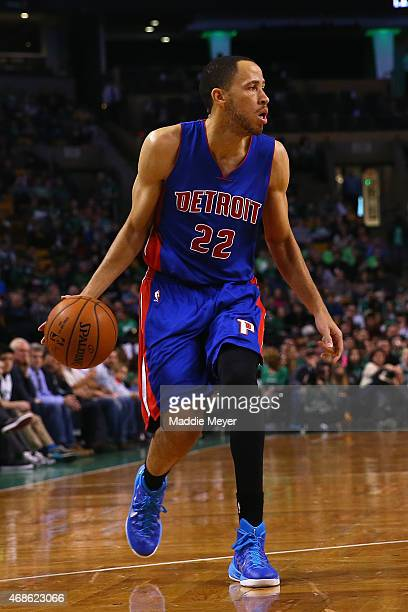 Tayshaun Prince of the Detroit Pistons carries the ball against the Boston Celtics during the first quarter at TD Garden on March 22 2015 in Boston...