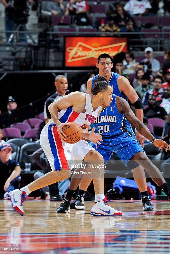 <a gi-track='captionPersonalityLinkClicked' href=/galleries/search?phrase=Tayshaun+Prince&family=editorial&specificpeople=201553 ng-click='$event.stopPropagation()'>Tayshaun Prince</a> #22 of the Detroit Pistons controls the ball against the Orlando Magic during a pre-season game on October 16, 2012 at The Palace of Auburn Hills in Auburn Hills, Michigan.