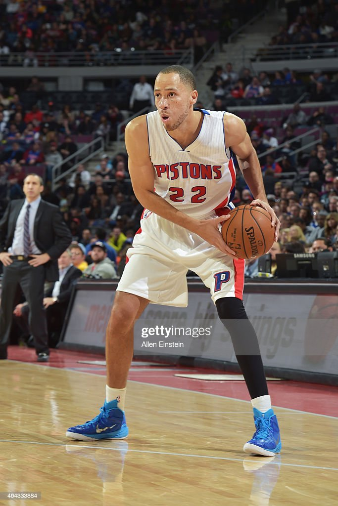 Tayshaun Prince of the Detroit Pistons defends the ball against the Cleveland Cavaliers during the game on February 24 2015 at The Palace of Auburn...