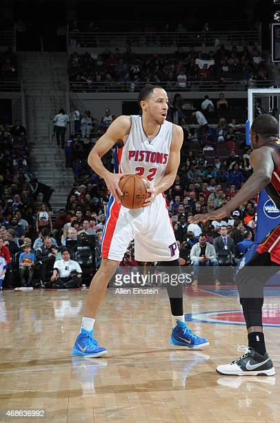Tayshaun Prince of the Detroit Pistons defends the ball against the Miami Heat during the game on April 4 2015 at The Palace of Auburn Hills in...