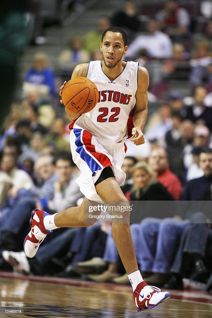 Tayshaun Prince #22 of the Detroit Pistons dribbles against the Milwaukee Bucks on November 1, 2006 at the Palace of Auburn Hills in Auburn Hills, Michigan. Milwaukee won the game 105-97.