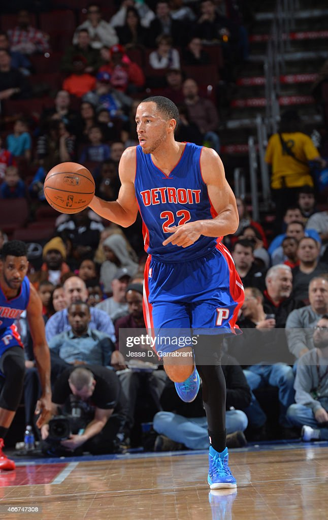 Tayshaun Prince of the Detroit Pistons dribbles up the court against the Philadelphia 76ers at Wells Fargo Center on March 18 2015 in Philadelphia...