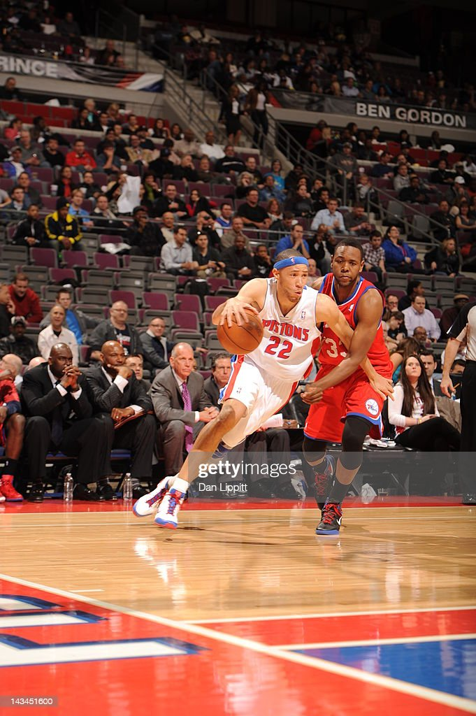 <a gi-track='captionPersonalityLinkClicked' href=/galleries/search?phrase=Tayshaun+Prince&family=editorial&specificpeople=201553 ng-click='$event.stopPropagation()'>Tayshaun Prince</a> #22 of the Detroit Pistons drives against <a gi-track='captionPersonalityLinkClicked' href=/galleries/search?phrase=Craig+Brackins&family=editorial&specificpeople=4846712 ng-click='$event.stopPropagation()'>Craig Brackins</a> #33 of the Philadelphia 76ers during the game between the Detroit Pistons and the Philadelphia 76ers on April 26, 2012 at The Palace of Auburn Hills in Auburn Hills, Michigan.