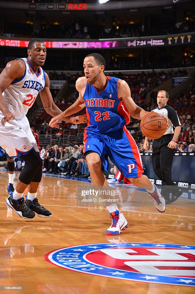 <a gi-track='captionPersonalityLinkClicked' href=/galleries/search?phrase=Tayshaun+Prince&family=editorial&specificpeople=201553 ng-click='$event.stopPropagation()'>Tayshaun Prince</a> #22 of the Detroit Pistons drives against <a gi-track='captionPersonalityLinkClicked' href=/galleries/search?phrase=Thaddeus+Young&family=editorial&specificpeople=3847270 ng-click='$event.stopPropagation()'>Thaddeus Young</a> #21 of the Philadelphia 76ers during the game between Detroit Pistons and the Philadelphia 76ers at the Wells Fargo Center on November 14, 2012 in Philadelphia, Pennsylvania.