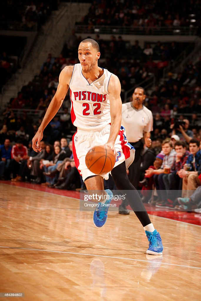 Tayshaun Prince of the Detroit Pistons drives against the Cleveland Cavaliers during the game on February 24 2015 at The Palace of Auburn in Hills in...