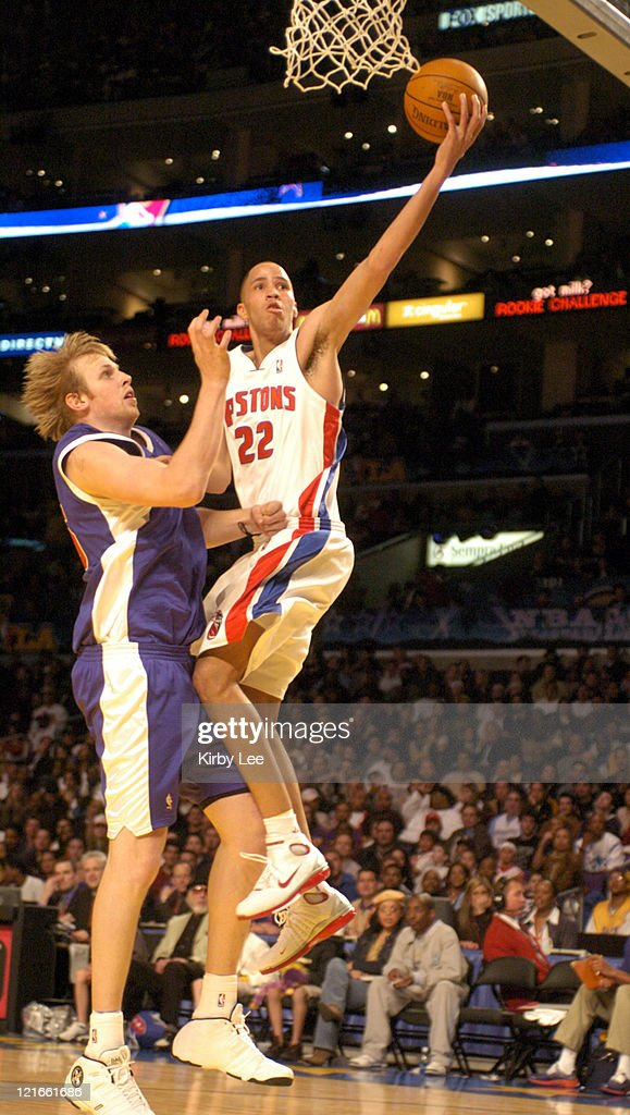 <a gi-track='captionPersonalityLinkClicked' href=/galleries/search?phrase=Tayshaun+Prince&family=editorial&specificpeople=201553 ng-click='$event.stopPropagation()'>Tayshaun Prince</a> of the Detroit Pistons drives to the basket against Chris Kaman of the Los Angeles Clippers during the NBA All-Star Rookie Challenge at the Staples Center in Los Angeles, California, on February 13, 2004.
