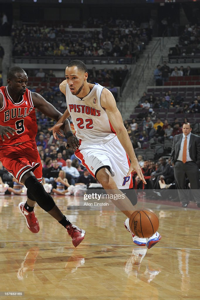 Tayshaun Prince #22 of the Detroit Pistons drives to the basket against Luol Deng #9 of the Chicago Bulls on December 7, 2012 at The Palace of Auburn Hills in Auburn Hills, Michigan.