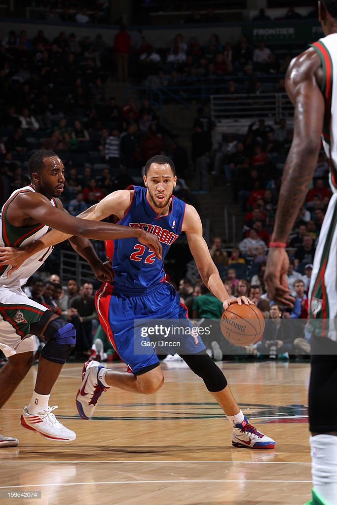 <a gi-track='captionPersonalityLinkClicked' href=/galleries/search?phrase=Tayshaun+Prince&family=editorial&specificpeople=201553 ng-click='$event.stopPropagation()'>Tayshaun Prince</a> #22 of the Detroit Pistons drives to the basket against the Milwaukee Bucks on January 11, 2013 at the BMO Harris Bradley Center in Milwaukee, Wisconsin.