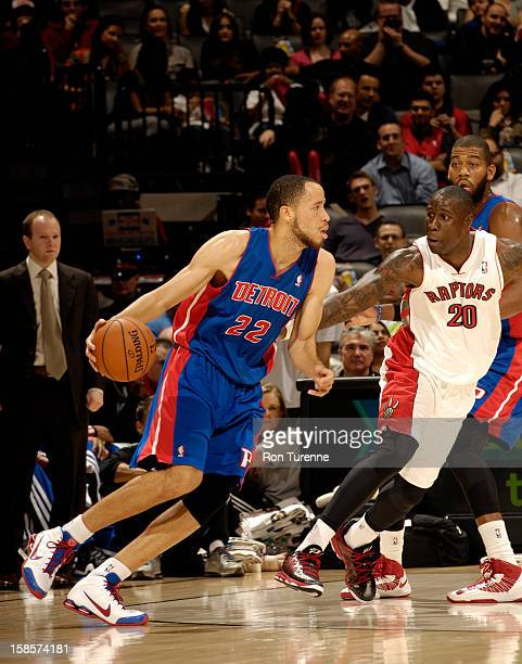 Tayshaun Prince of the Detroit Pistons drives to the basket while Toronto Raptors Mickael Pietrus of defends him during the game on December 19 2012...
