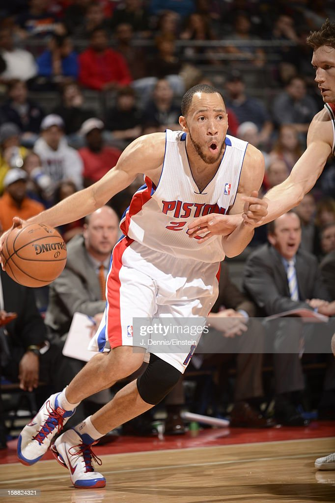 Tayshaun Prince #22 of the Detroit Pistons drives under pressure during the game between the Detroit Pistons and the Milwaukee Bucks on December 30, 2012 at The Palace of Auburn Hills in Auburn Hills, Michigan.