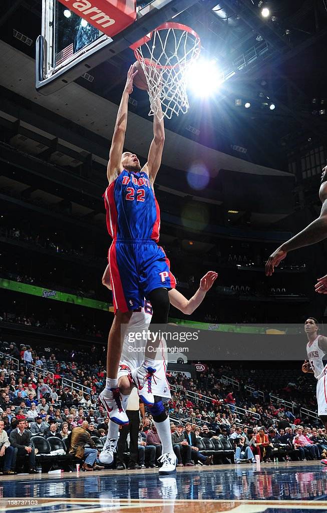 Tayshaun Prince #22 of the Detroit Pistons dunks against the Atlanta Hawks on December 26, 2012 at Philips Arena in Atlanta, Georgia.