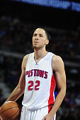 Tayshaun Prince of the Detroit Pistons during the game against the Miami Heat on April 4 2015 at The Palace of Auburn Hills in Auburn Hills Michigan...