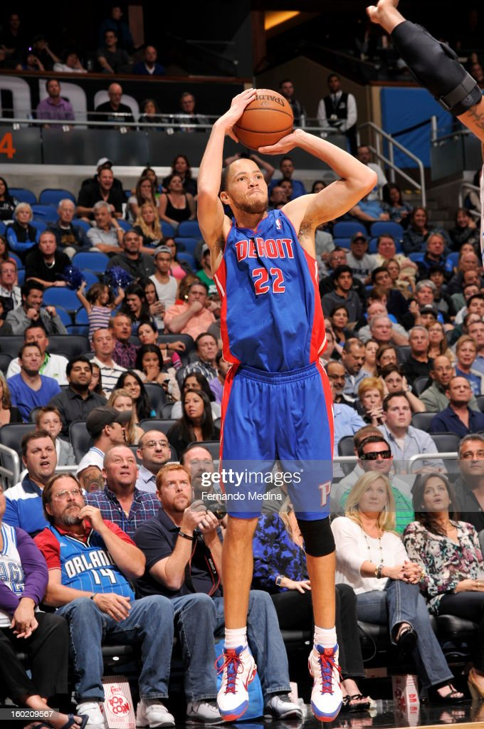 Tayshaun Prince #22 of the Detroit Pistons goes for a jump shot during the game between the Detroit Pistons and the Orlando Magic on January 27, 2013 at Amway Center in Orlando, Florida.