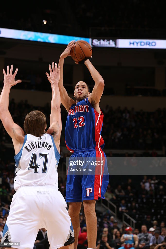 Tayshaun Prince #22 of the Detroit Pistons goes to the basket against Andrei Kirilenko #47 of the Minnesota Timberwolves during the game between the Minnesota Timberwolves and the Detroit Pistons during the NBA preseason as part of NBA Canada Series 2012 on October 24, 2012 at the MTS Centre in Winnipeg, Manitoba, Canada.