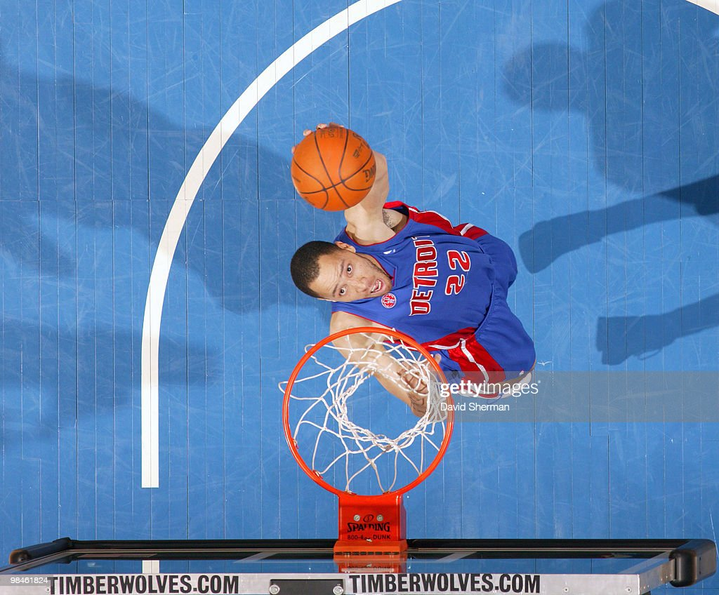 Tayshaun Prince of the Detroit Pistons goes to the basket during the game against the Minnesota Timberwolves on April 14 2010 at the Target Center in...
