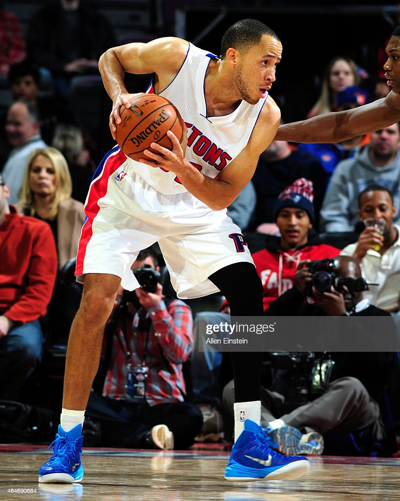 Tayshaun Prince of the Detroit Pistons handles the ball against the New York Knicks on February 27 2015 at The Palace of Auburn Hills in Auburn Hills...