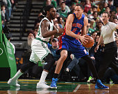 Tayshaun Prince of the Detroit Pistons handles the ball against the Boston Celtics on March 22 2015 at the TD Garden in Boston Massachusetts NOTE TO...