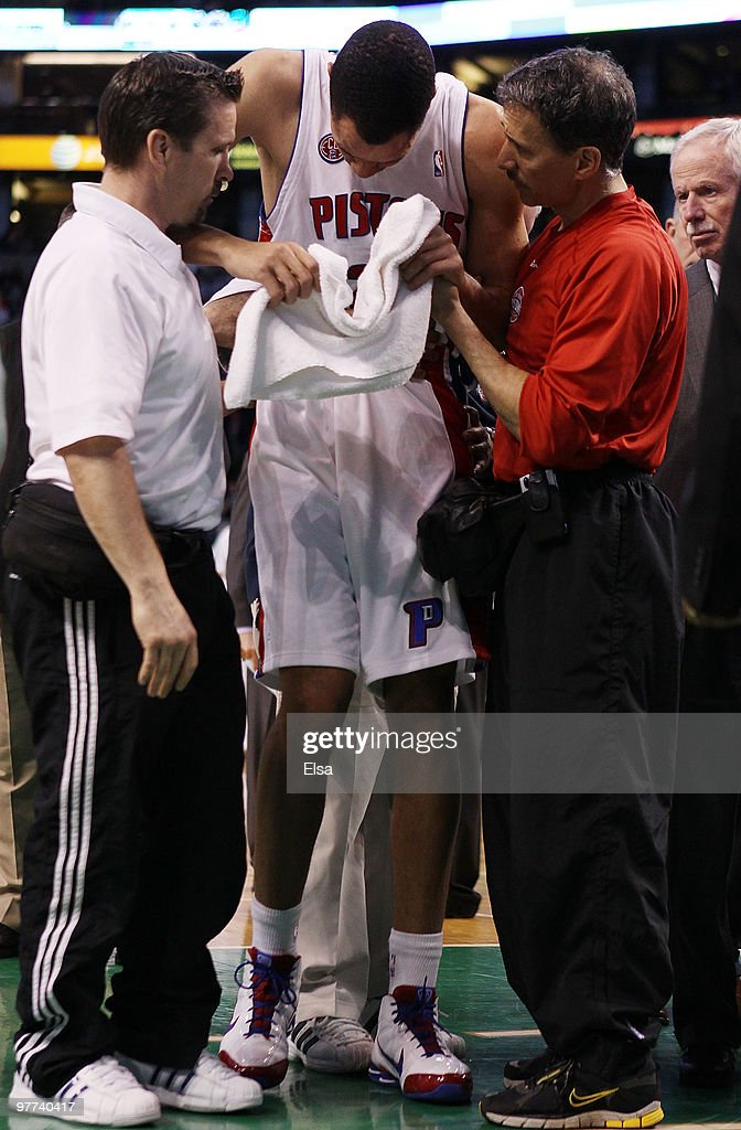 <a gi-track='captionPersonalityLinkClicked' href=/galleries/search?phrase=Tayshaun+Prince&family=editorial&specificpeople=201553 ng-click='$event.stopPropagation()'>Tayshaun Prince</a> #22 of the Detroit Pistons is helped off the court in the first quarter against the Boston Celtics on March 15, 2010 at the TD Garden in Boston, Massachusetts.