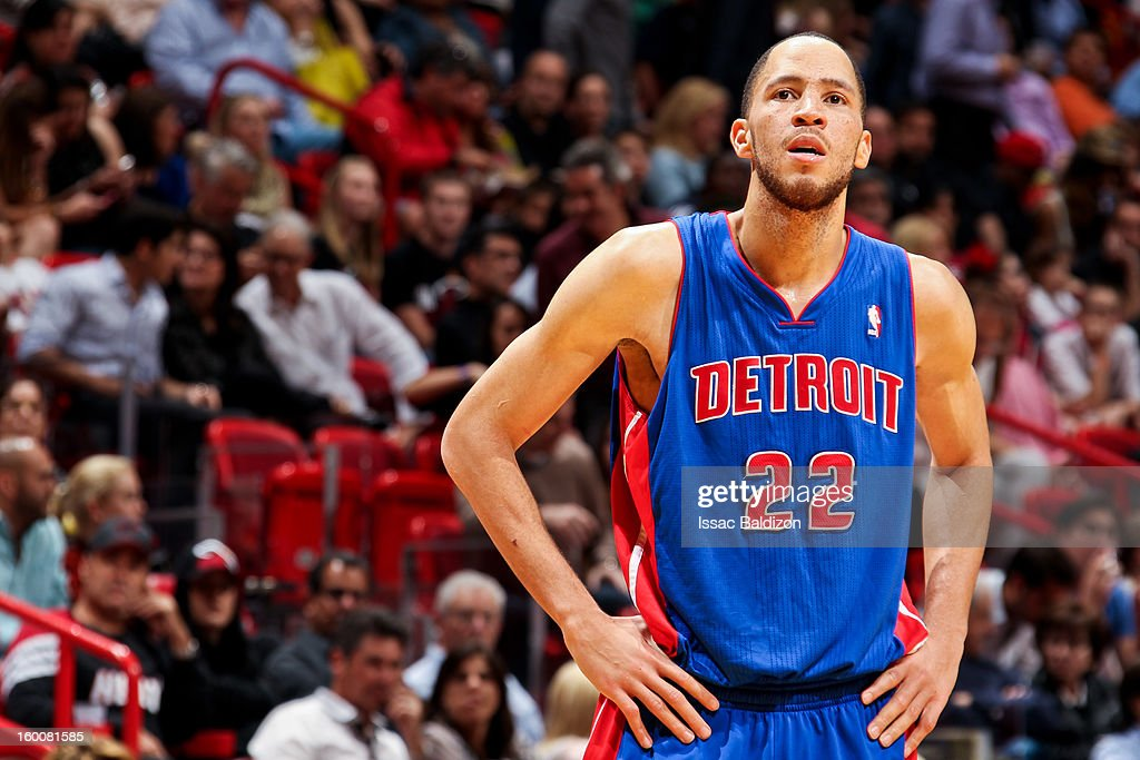 Tayshaun Prince of the Detroit Pistons looks on during a game against the Miami Heat on January 25 2013 at American Airlines Arena in Miami Florida...