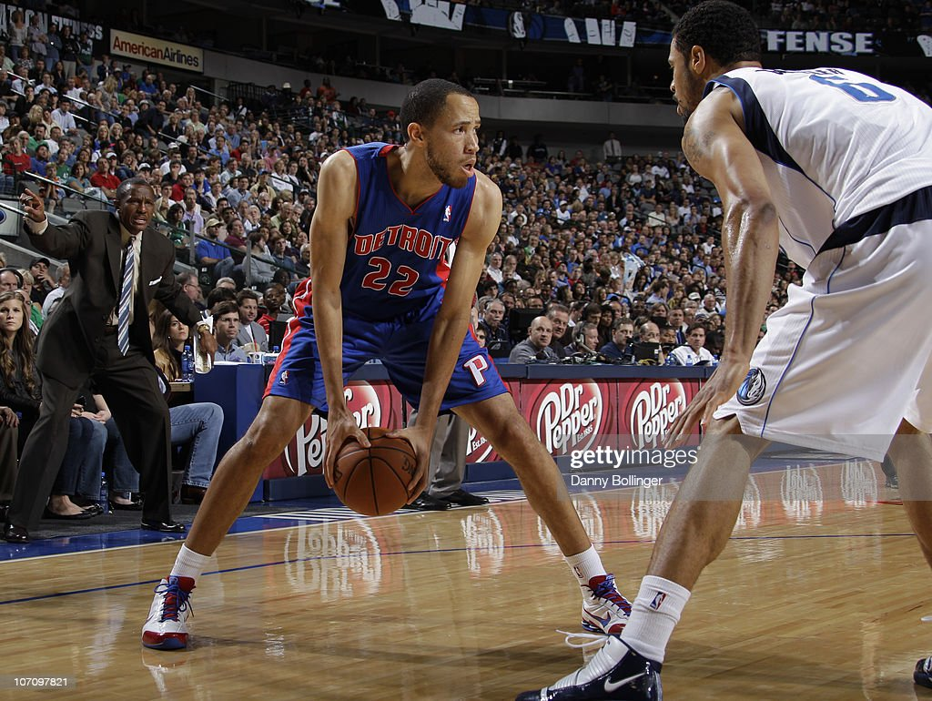Tayshaun Prince #22 of the Detroit Pistons looks to drive against Tyson Chandler #6 of the Dallas Mavericks during a game on November 23, 2010 at the American Airlines Center in Dallas, Texas.