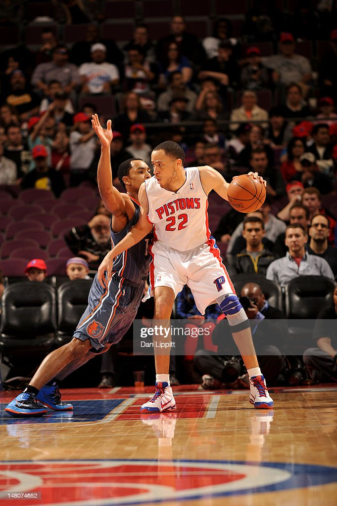 Tayshaun Prince #22 of the Detroit Pistons looks to pass against the Charlotte Bobcats during the game on March 31, 2012 at The Palace of Auburn Hills in Auburn Hills, Michigan.