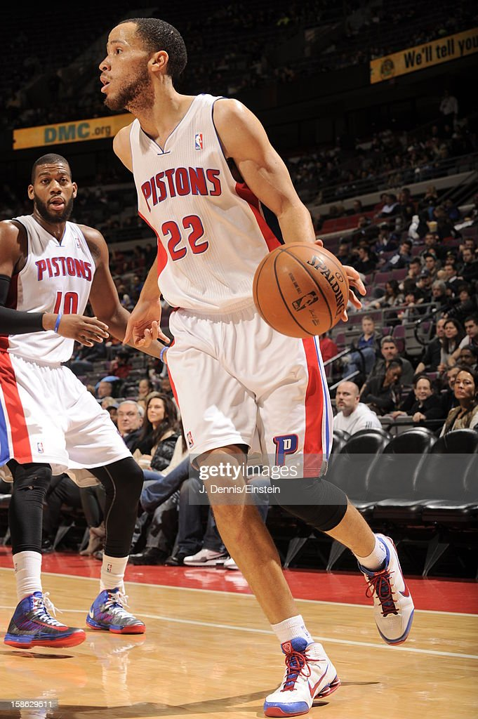 Tayshaun Prince #22 of the Detroit Pistons looks to pass the ball against the Washington Wizards during the game on December 21, 2012 at The Palace of Auburn Hills in Auburn Hills, Michigan.