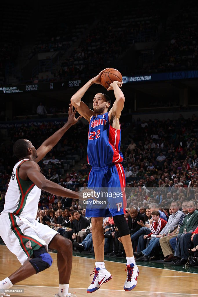 <a gi-track='captionPersonalityLinkClicked' href=/galleries/search?phrase=Tayshaun+Prince&family=editorial&specificpeople=201553 ng-click='$event.stopPropagation()'>Tayshaun Prince</a> #22 of the Detroit Pistons looks to pass the ball against the Milwaukee Bucks on January 11, 2013 at the BMO Harris Bradley Center in Milwaukee, Wisconsin.