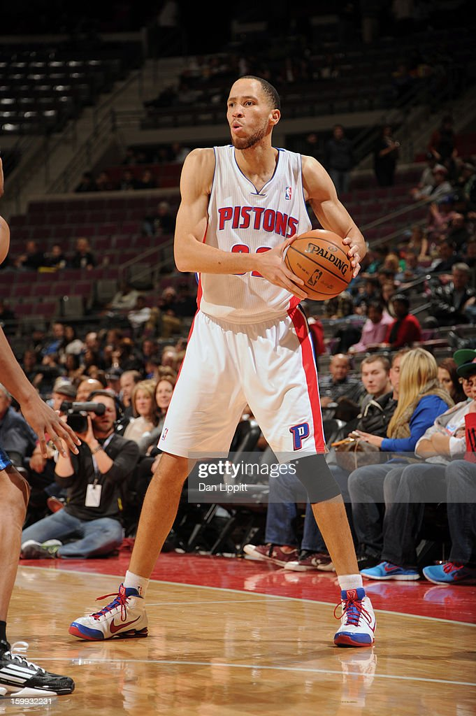 <a gi-track='captionPersonalityLinkClicked' href=/galleries/search?phrase=Tayshaun+Prince&family=editorial&specificpeople=201553 ng-click='$event.stopPropagation()'>Tayshaun Prince</a> #22 of the Detroit Pistons looks to pass the ball against the Orlando Magic on January 22, 2013 at The Palace of Auburn Hills in Auburn Hills, Michigan.
