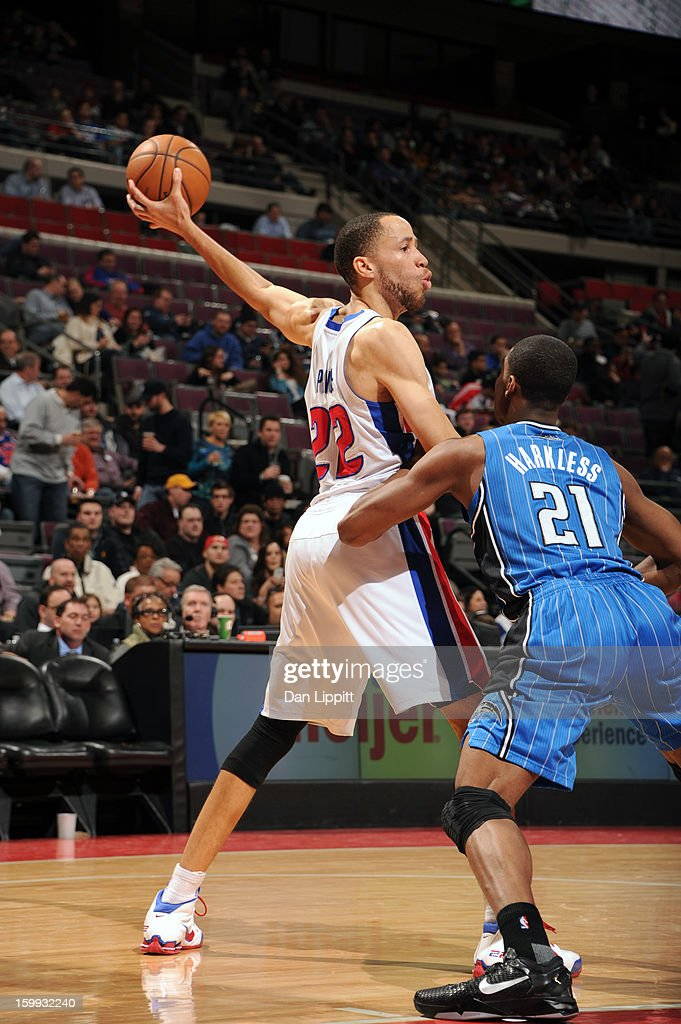 Tayshaun Prince #22 of the Detroit Pistons looks to pass the ball against the Orlando Magic on January 22, 2013 at The Palace of Auburn Hills in Auburn Hills, Michigan.