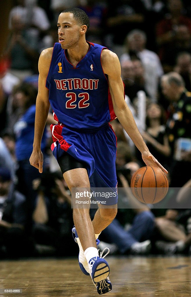 Tayshaun Prince #22 of the Detroit Pistons moves the ball during the game against the San Antonio Spurs in Game seven of the 2005 NBA Finals at SBC Center on June 23, 2005 in San Antonio, Texas. The Spurs defeated the Pistons 81-74 and win the NBA Championship series 4-3.