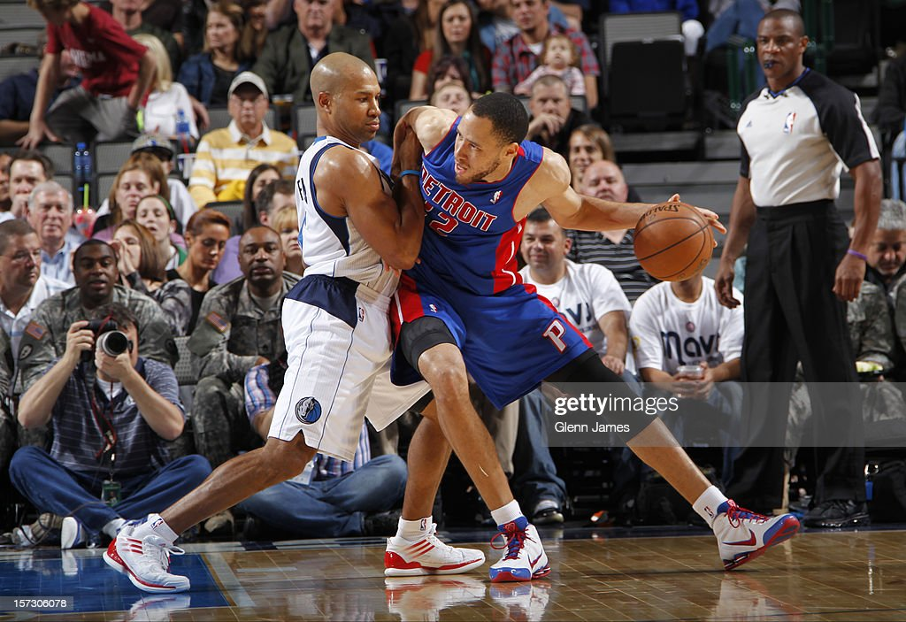 <a gi-track='captionPersonalityLinkClicked' href=/galleries/search?phrase=Tayshaun+Prince&family=editorial&specificpeople=201553 ng-click='$event.stopPropagation()'>Tayshaun Prince</a> #22 of the Detroit Pistons posts up against <a gi-track='captionPersonalityLinkClicked' href=/galleries/search?phrase=Derek+Fisher&family=editorial&specificpeople=201724 ng-click='$event.stopPropagation()'>Derek Fisher</a> #6 of the Dallas Mavericks on December 1, 2012 at the American Airlines Center in Dallas, Texas.